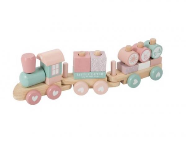 Holz-Eisenbahn mit Steck-Formen 'Rosa'