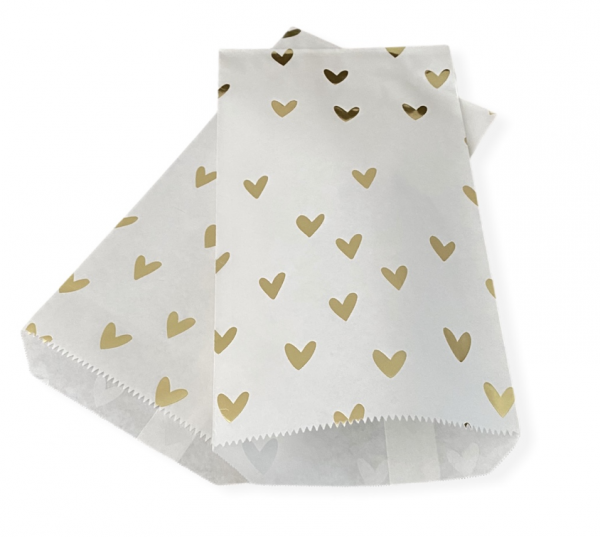 Papiertasche 'Herz' Weiß/Gold