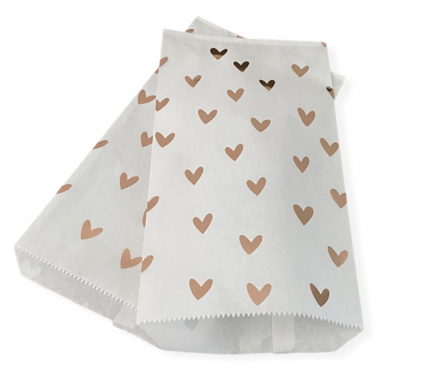 Papiertasche 'Herz' Weiß/Rose